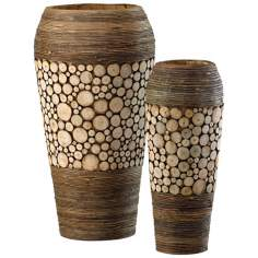 Set of 2 Birch and Walnut Wood Slice Oblong Vases