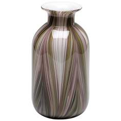 Large Multi-Colored Glass Feather Vase