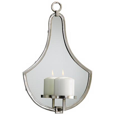 Mod Mirrored Wall Pillar Candle Holder