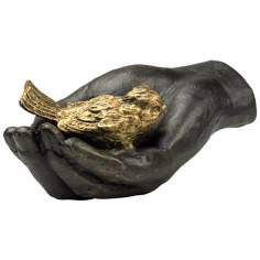 A Bird in the Hand Iron and Bronze Sculpture