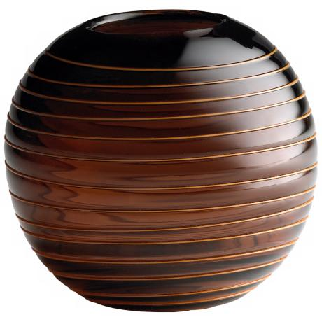Small Round Raw Umber Glass Vesper Vase