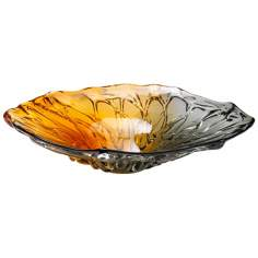 Duo Amber and Smoke Art Glass Plate