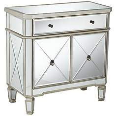 "Rita 32"" Wide Mirrored Console Accent Cabinet"