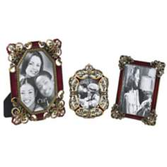 Set of 3 Red Jeweled Picture Frames
