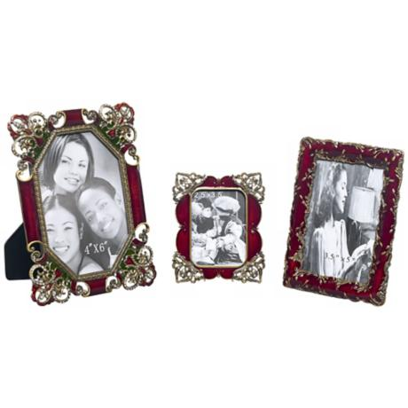 Set of 3 Dark Red Jeweled Frames