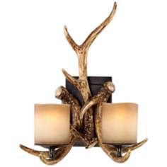 "Faux Deer Antlers Candle Glass 17 1/2"" High 2-Light Sconce"