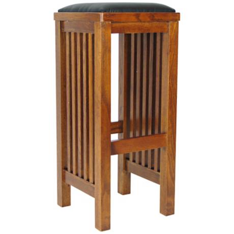 "Mission Style Oak Finish 30"" High Backless Bar Stool"