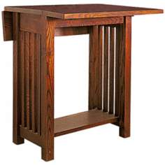 Mission Style Oak Finish Drop Leaf Table