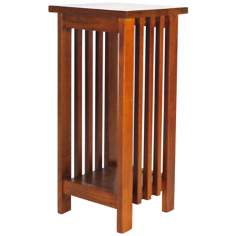 "Mission Style Oak Finish 25"" High Flower Stand"