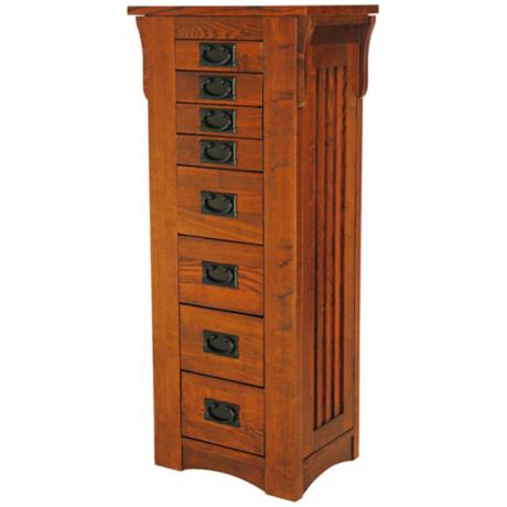 Mission Style Oak Finish Jewelry Chest