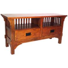 Mission Style Oak Finish Entertainment Console