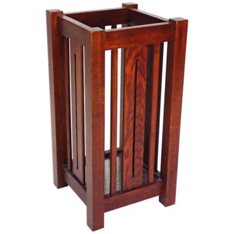 Mission Style Oak Finish Umbrella Stand