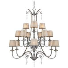 Kendra Mottled Silver Fifteen Light Entry Chandelier