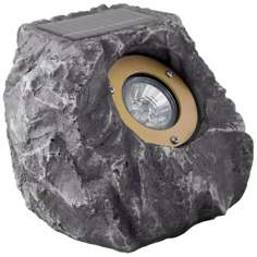Rock Grey Finish Solar LED Outdoor Spotlight