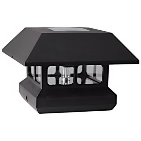 Black Finish Solar Powered LED Post Cap Light