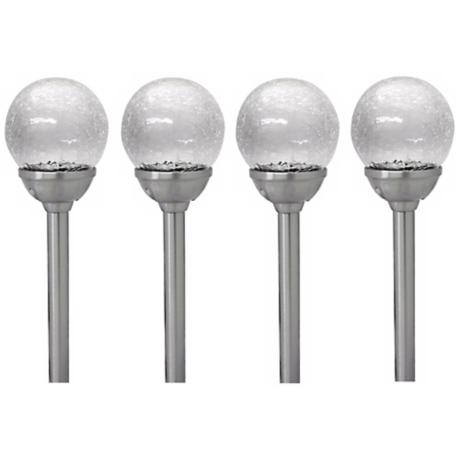 Set of 4 Crackled Glass Solar LED Outdoor Path Lights