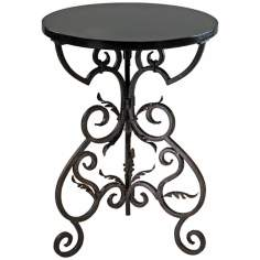 "Black and Gold Finish 27 1/4"" High Briony Side Table"