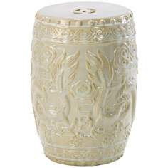 "Off White 17 1/2"" High Shanghai Dragon Ottoman"