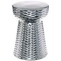 "Chrome Finish 17 3/4"" High Ceramic Cone Ottoman"