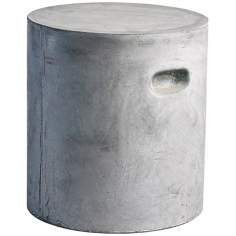"Slate Finish 15 3/4"" High Round Fiber Clay Ottoman"