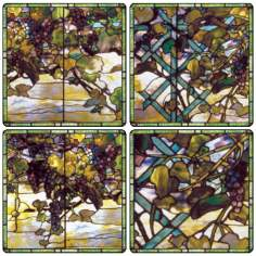 Hindostone Set of Four Tiffany Stained Glass Window Coasters