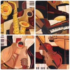 Hindostone Set of Four Abstract Musical Instruments Coasters