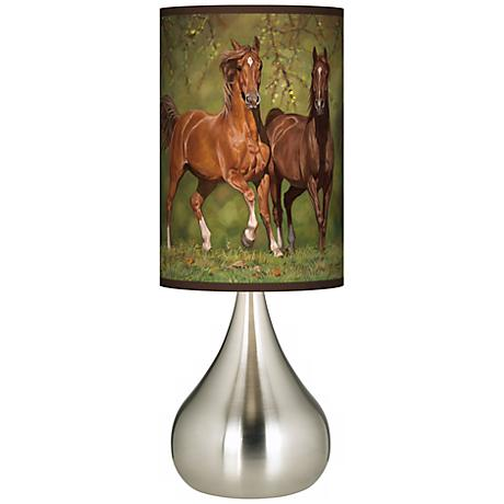 Buddies Horses Giclee Big Kiss Table Lamp
