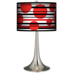 Red Balls Giclee Trumpet Table Lamp