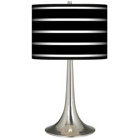 Bold Black Stripe Giclee Trumpet Table Lamp