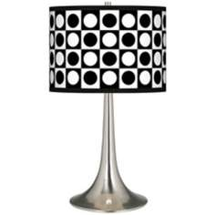 Black and White Dotted Square Giclee Trumpet Table Lamp