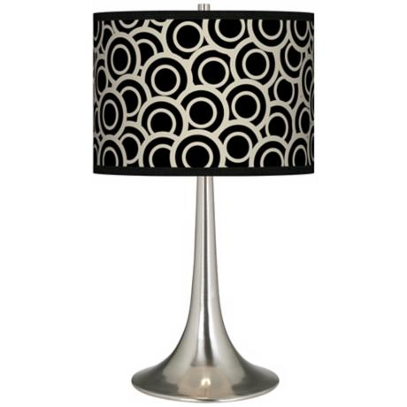 Black and Ivory Circlets Giclee Trumpet Table Lamp