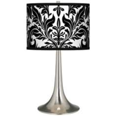Black Tapestry Giclee Trumpet Table Lamp
