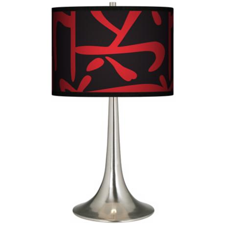 Asian Flair Giclee Trumpet Table Lamp