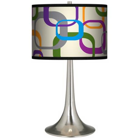 Retro Squares Scramble Giclee Trumpet Table Lamp