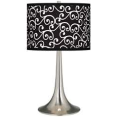 Curlicue Black Giclee Trumpet Table Lamp