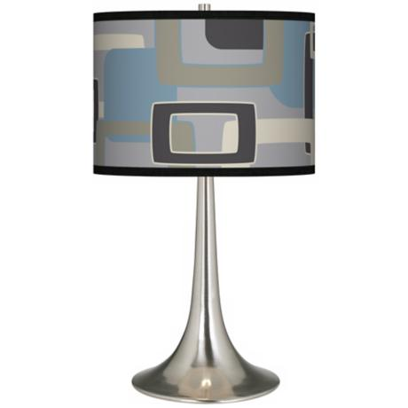 Retro Lithic Rectangles Giclee Trumpet Table Lamp