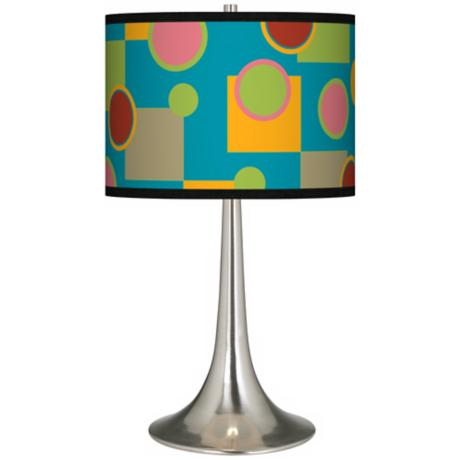 Vibrant Retro Medley Giclee Trumpet Table Lamp
