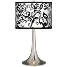 Regency Black Giclee Trumpet Table Lamp