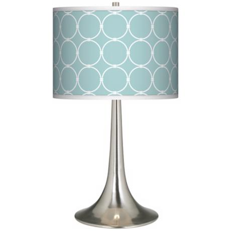 Aqua Interlace Giclee Trumpet Table Lamp