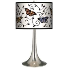 Butterfly Scroll Giclee Trumpet Table Lamp