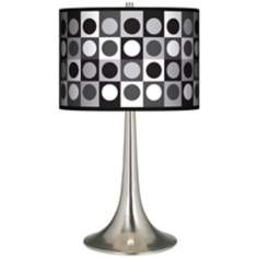 Black And Grey Dotted Squares Giclee Trumpet Table Lamp