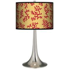 Crimson Coral Giclee Trumpet Table Lamp