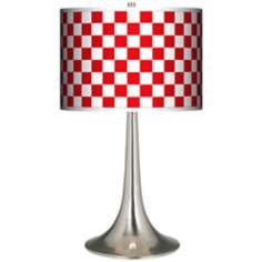 Checkered Red Giclee Trumpet Table Lamp