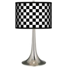 Checkered Black Giclee Trumpet Table Lamp
