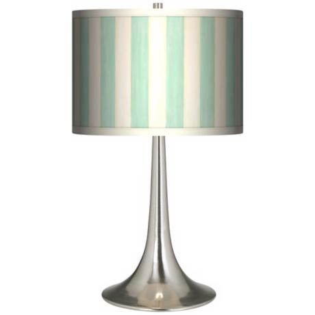 Seaside Stripe Green Giclee Trumpet Table Lamp