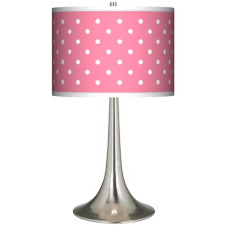 Mini Dots Pink Giclee Trumpet Table Lamp
