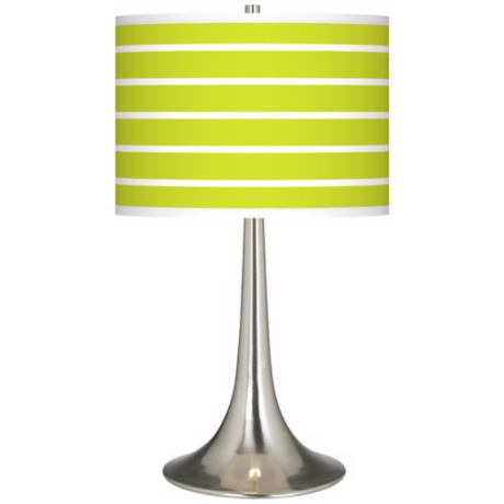Vivid Green Stripes Giclee Trumpet Table Lamp