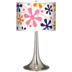 Retro Pink Giclee Trumpet Table Lamp
