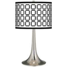 Open Grid Giclee Trumpet Table Lamp