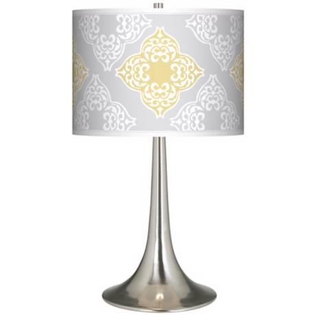 Aster Grey Giclee Trumpet Table Lamp